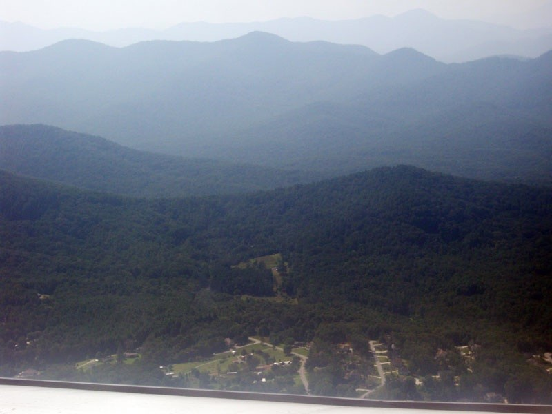 Asheville, North Carolina from a plane