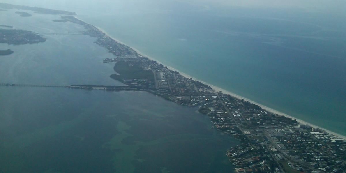 Sarasota, Florida from an airplane window.