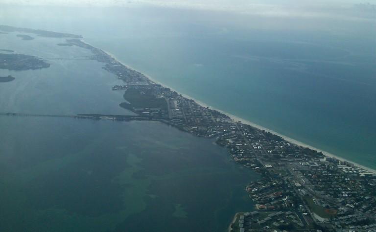 Sarasota, Florida from an airplane window.