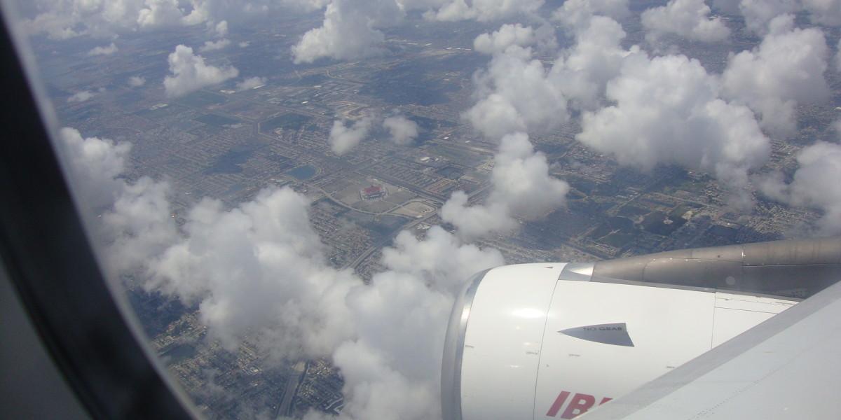 Sun Life Stadium from an airplane window