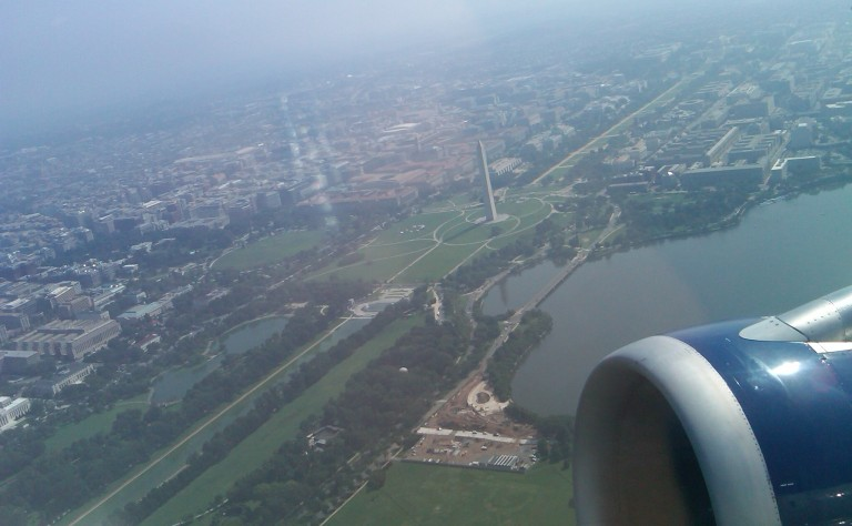 Washington DC from an airplane window.