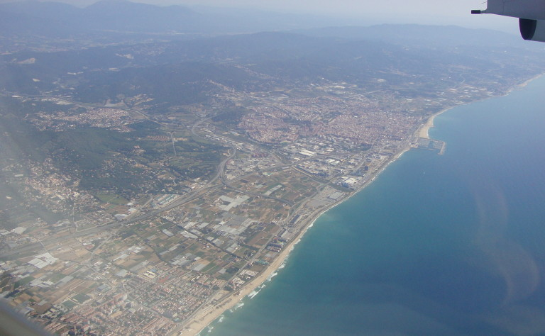 Barcelona, Spain from the airplane window.