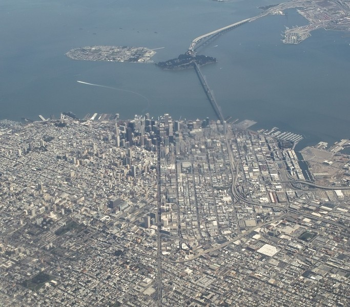 San Francisco, CA from an airplane