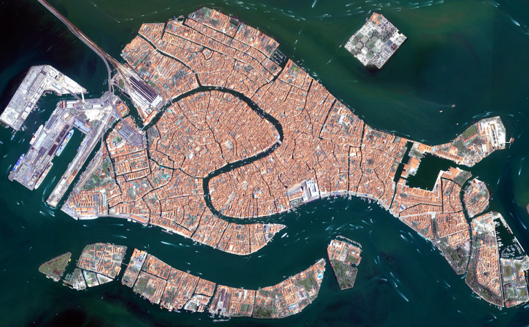 Venice, Italy from the airplane window.