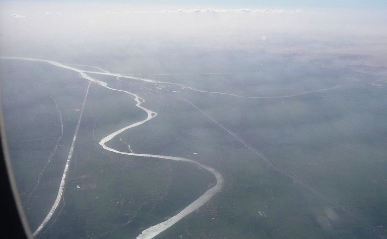 Nile river from an airplane window
