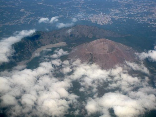 Mt. Vesuvius, Italy, from an airplane window