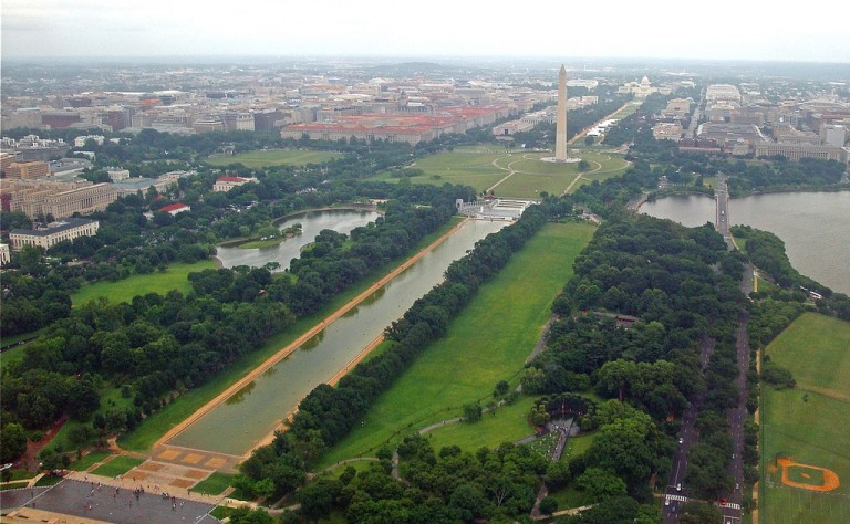 washington monument from an airplane window