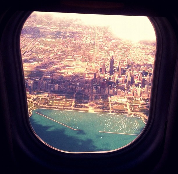 chicago from an airplane window