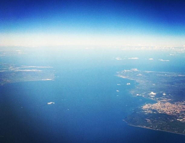 Gibraltar from an airplane window