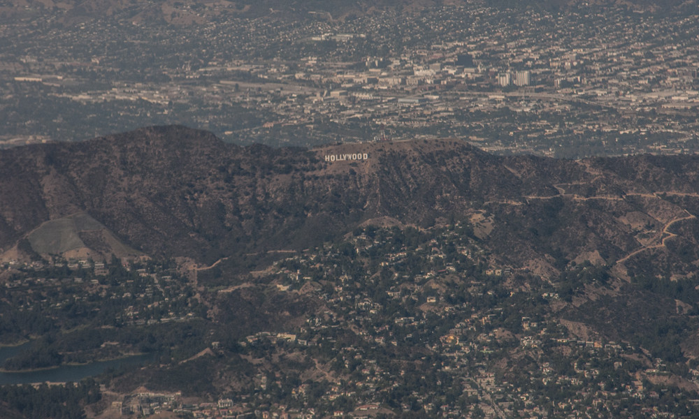 Hollywood sign from an airplane window