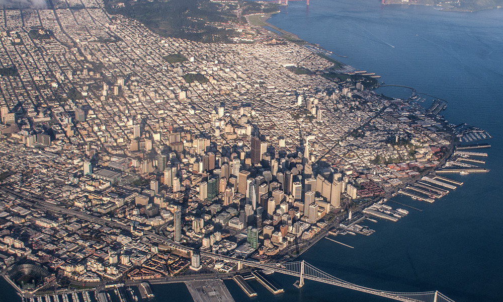 san francisco from an airplane window