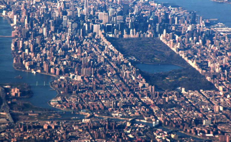 central park from an airplane window