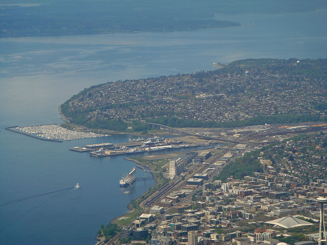 Elliott Bay Seattle from an airplane window