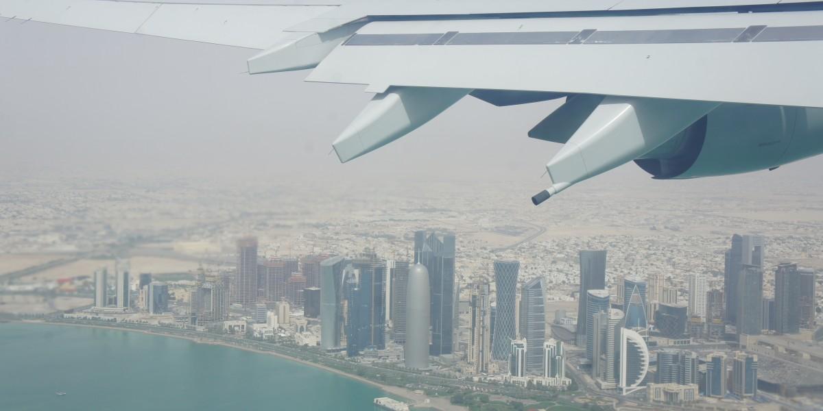 Doha City, Qatar from an airplane window.