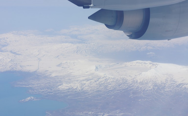 Nemrut Lake, Turkey from an airplane window.