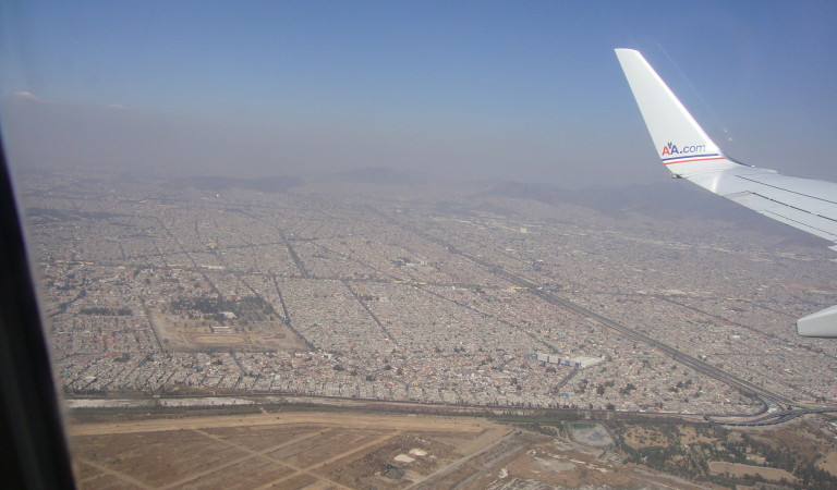 mexico city from an airplane window