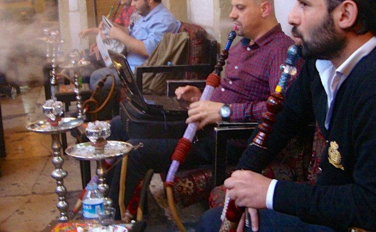 Smoking Nargile at Corlulu Ali pasa Medresesi in Istanbul