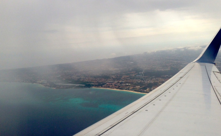 The Northern tip of Aruba from an airplane window. Thanks to Michelle for the photo!