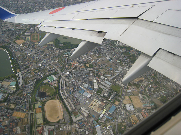 Osaka, Japan from an airplane window