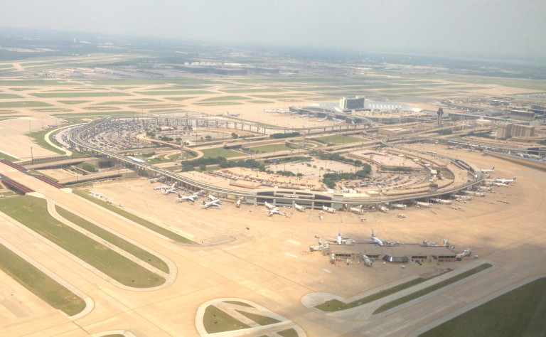 Dallas Fort Worth airport from the airplane window